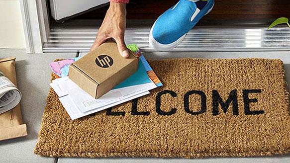 HP Instant Ink -paketti saapunut ovelle muun postin kanssa