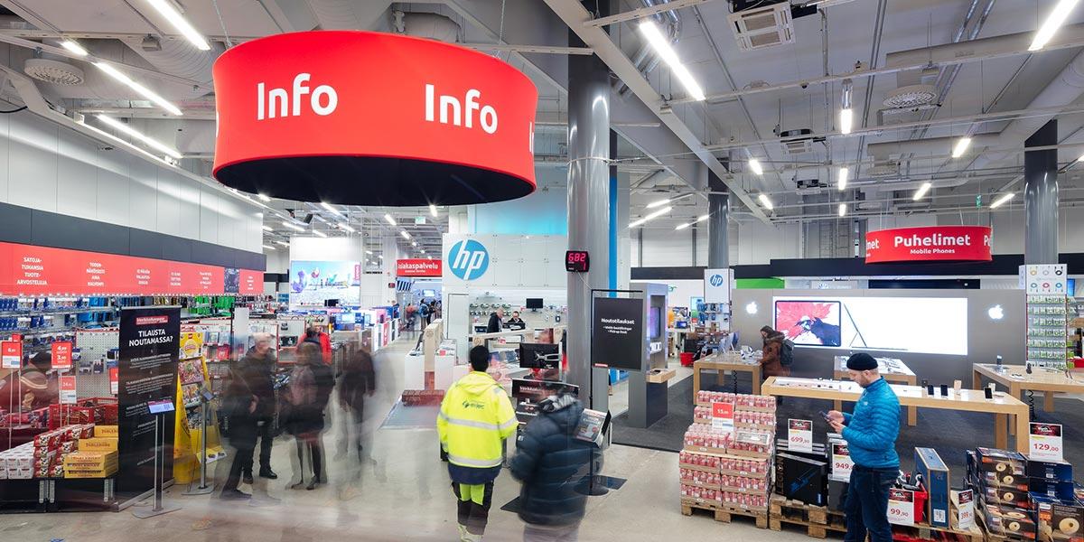 Helsingin myymälän infopiste toisessa kerroksessa