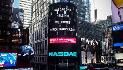 Mainostaulu ulkomailla: Nasdaq Helsinki welcomes Verkkokauppa.com
