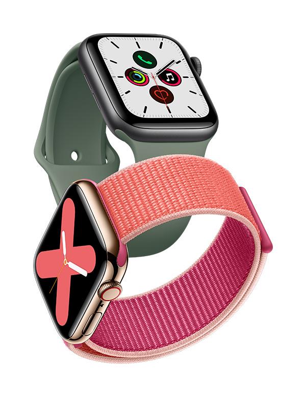 Kaksi Apple Watch Series 5 -älykelloa eri rannekkeilla