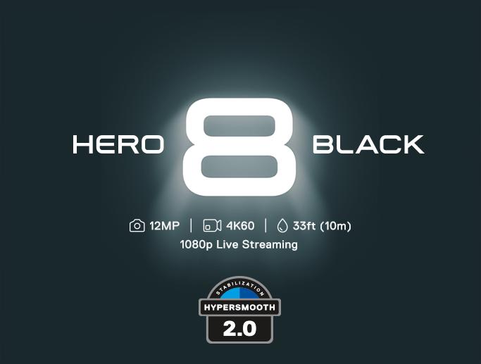 gopro hero 8 black, 12MP, kuvaus: 4K60, 10m syvyydessä vedessä, 1080p live streaming. Hypersmooth 2.0.