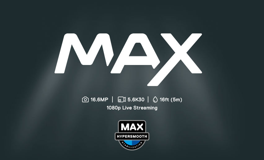 gopro max, 16.6MP, kuvaus: 5.6K30, 5m syvyydessä vedessä, 1080p live streaming. Hypersmooth MAX.