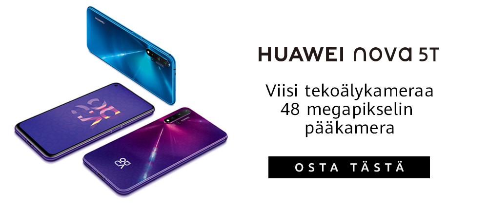 Huwaei Nova 5T - Viisi tekoälykameraa ja 48 megapikselin pääkamera. Osta tästä!