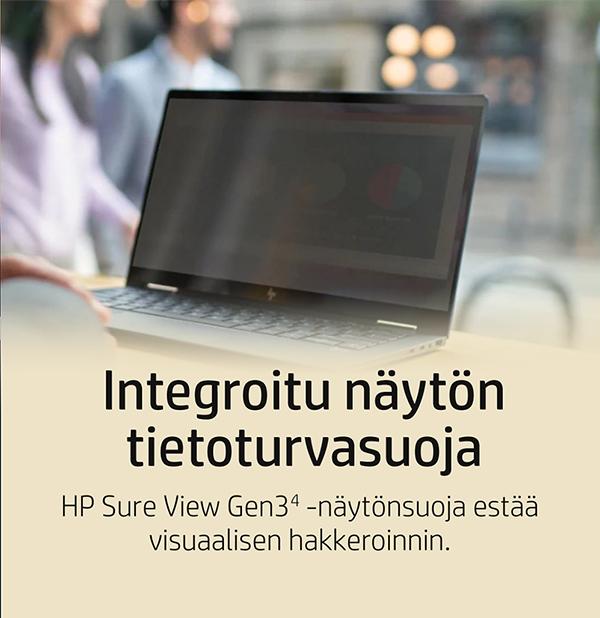 Integroitu näytön tietoturvasuoja: HP Sure ViewGen3 (4) -näytönsuoja estää visuaalisen hakkeroinnin.