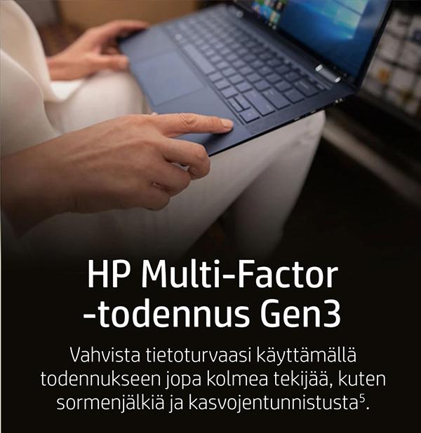 HP Multi-Factor -todennus Gen3: Vahvista tietoturvaasi käyttämällä todennukseen jopa kolmea tekijää, kuten sormenjälkijä ja kasvojentunnistusta (5).