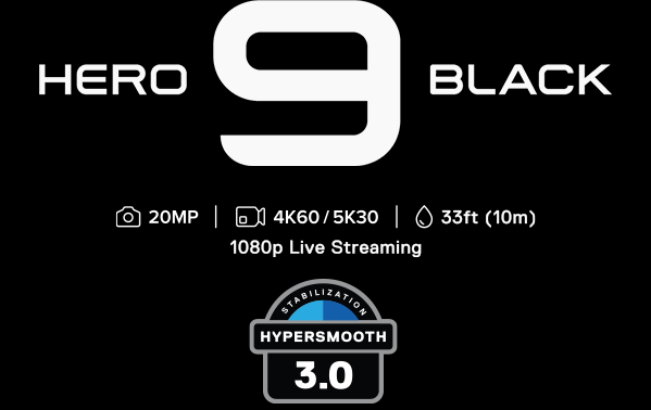 gopro hero 9 black, 20MP, kuvaus: 4K60 ja 5K30, 10m syvyydessä vedessä, 1080p live streaming. Hypersmooth 3.0.