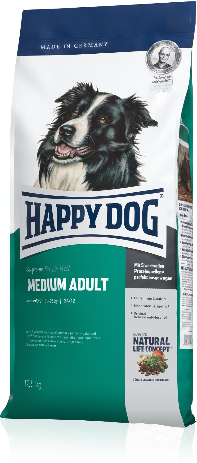 happy dog medium adult 12 5 kg kuivaruoka happydog. Black Bedroom Furniture Sets. Home Design Ideas