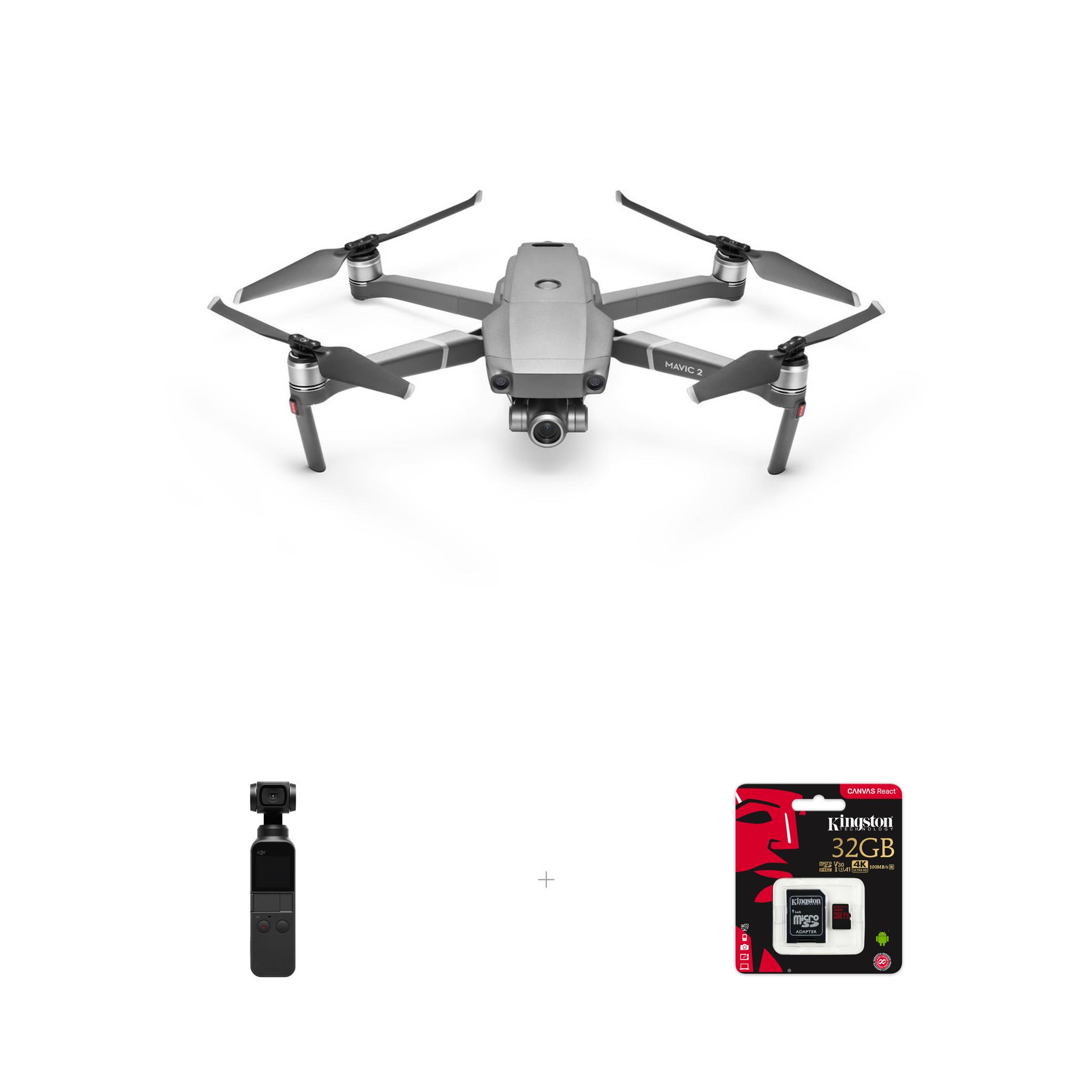 DJI Mavic 2 Zoom -nelikopteri + Osmo Pocket kamera, mukana 32 Gt  muistikortti 1457,80